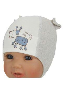 Caciulita bebe, magrof baby, gri cu alb