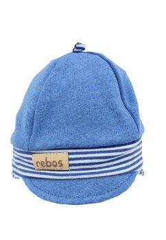 Caciulita, bumbac, albastra cu dungi