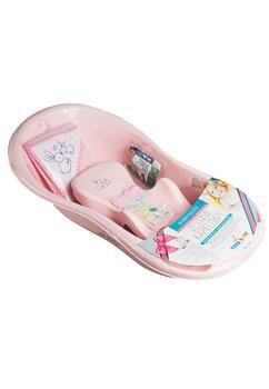 Cadita bebe + accesorii, roz, 102 cm