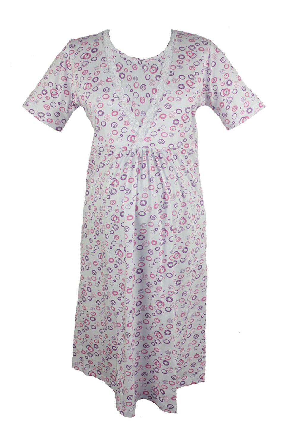 Camasa de alaptat, bumbac, alb cu cerculete roz imagine