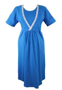 Camasa pentru alaptat, albastra cu dantela