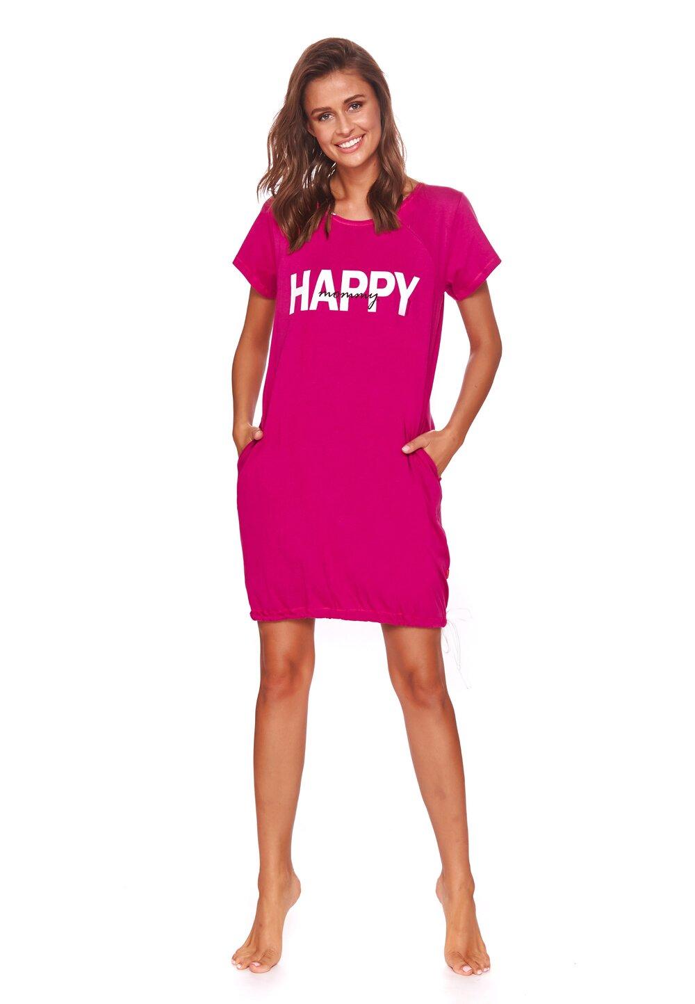 Camasa pentru alaptat, Happy mommy, roz inchis imagine