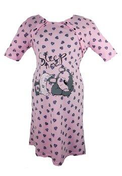 Camasa pentru alaptat, Sleep time, roz cu inimioare