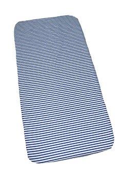 Cearceaf bumbac, alb cu dungi bluemarin, 120x60 cm