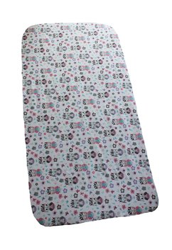 Cearceaf bumbac, bufnite mici, roz cu turcoaz, 120x60cm