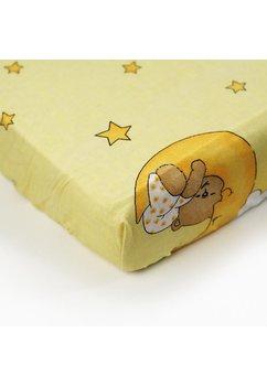 Cearceaf bumbac cu elastic, galben, ursuletul somnoros