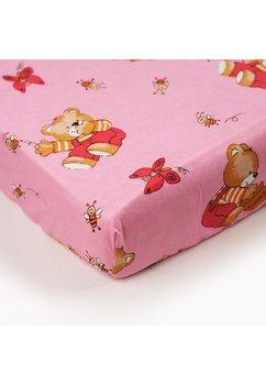 Cearceaf bumbac cu elastic, roz, ursuletul si albinutele