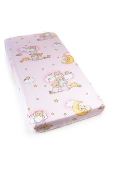 Cearceaf bumbac cu elastic, roz, ursuletul somnoros