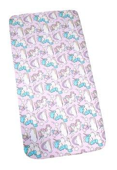 Cearceaf bumbac, unicorn, roz, 120x60 cm