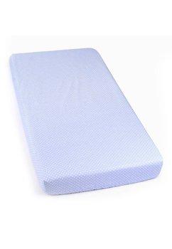 Cearceaf cu elastic, albastru cu buline albe, 120x60cm