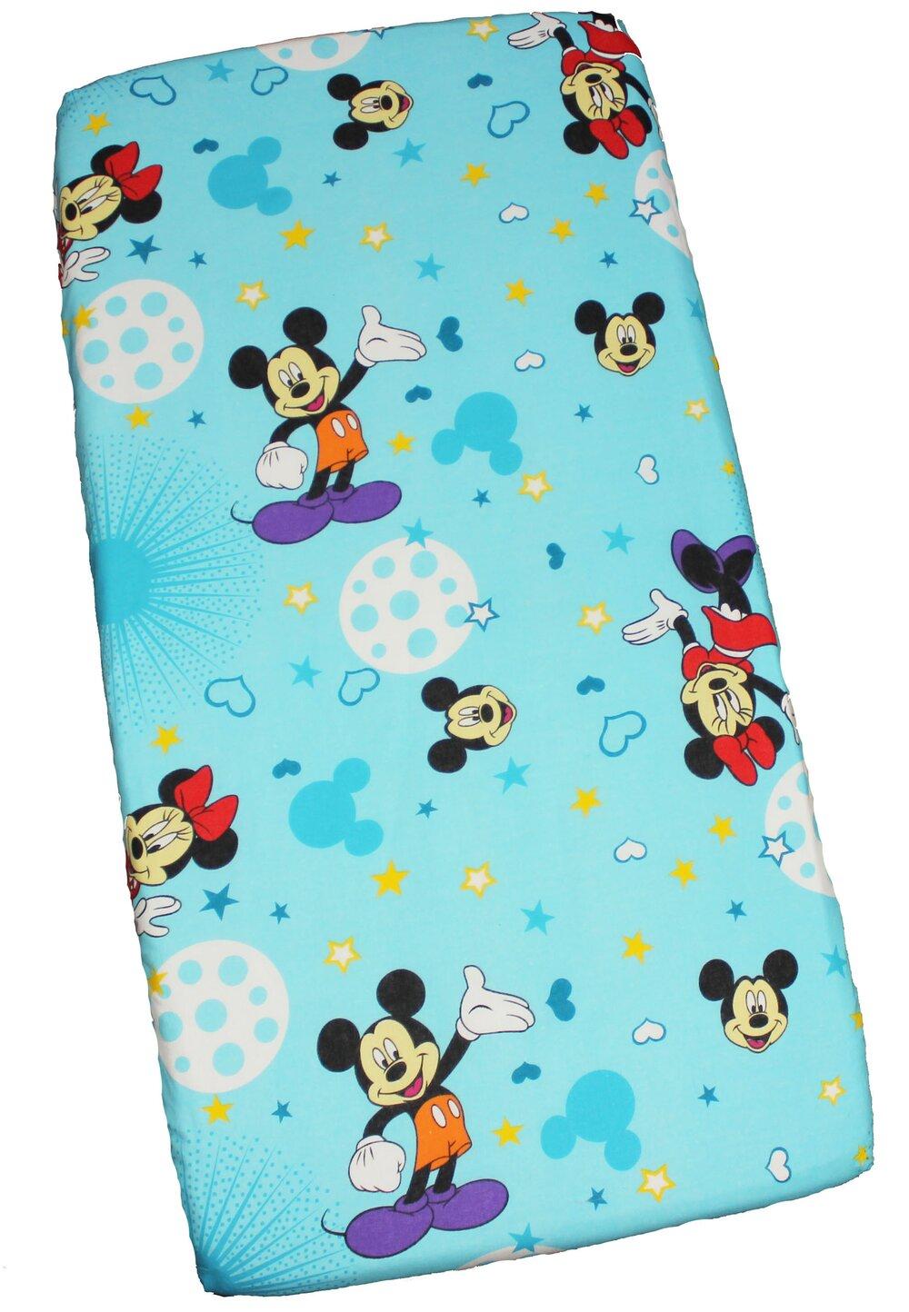 Cearceaf Minnie si Mickey, albastru cu stelute, 120 x 60 cm imagine