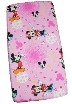 Cearceaf Minnie si Mickey, roz cu stelute, 120 x 60 cm