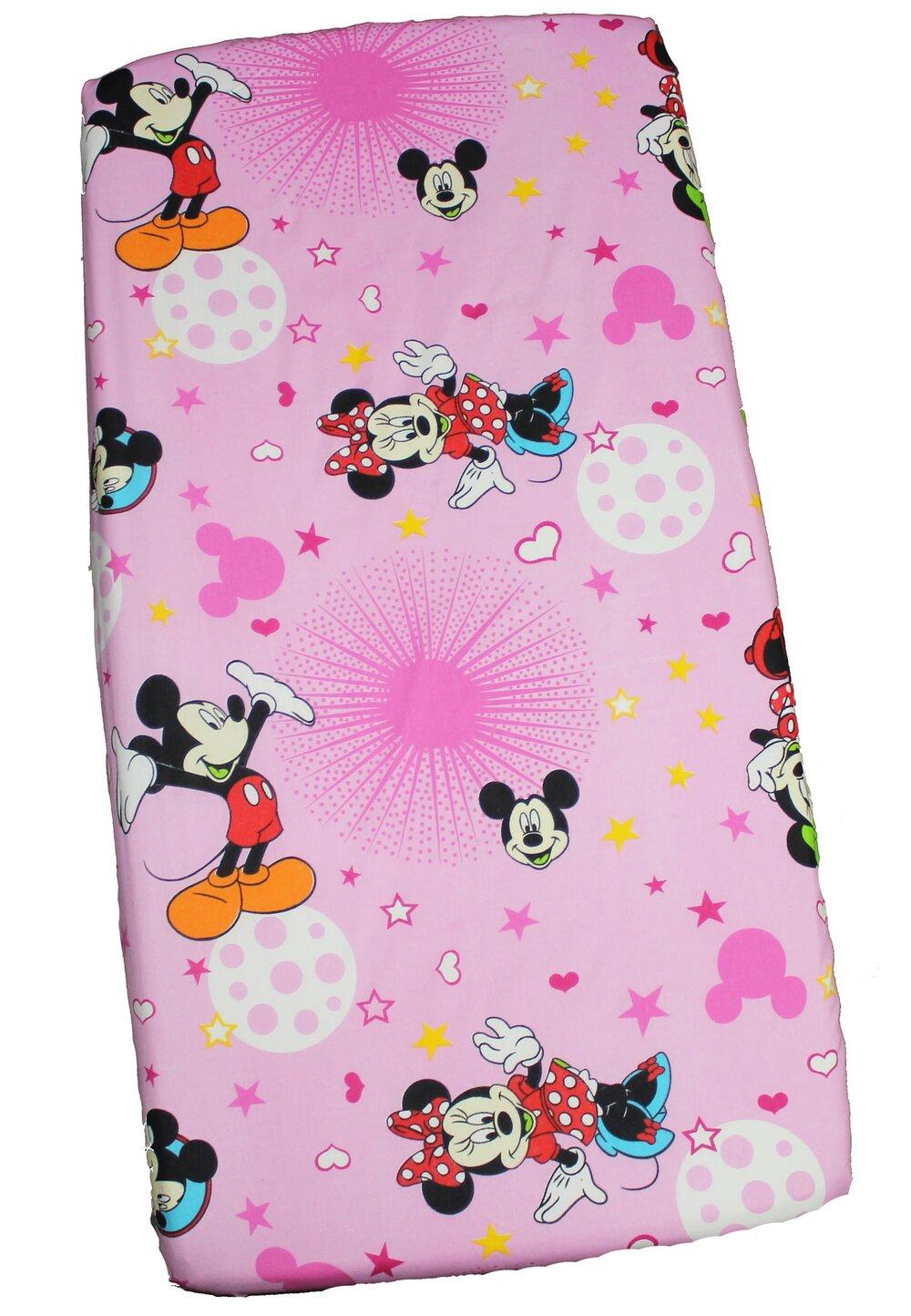 Cearceaf Minnie si Mickey, roz cu stelute, 120 x 60 cm imagine