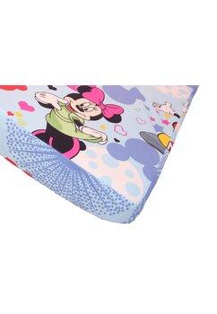 Cearceaf patut, albastru, Minnie si Mickey, 120x60cm