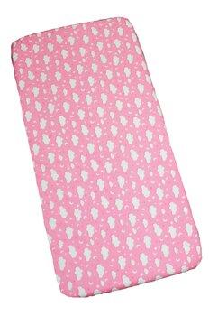 Cearceaf patut, norisori si stelute, roz, 120x60cm
