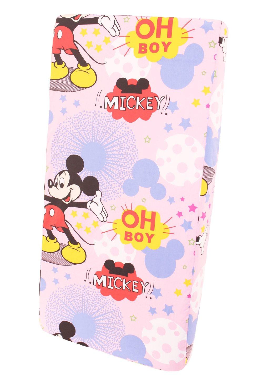 Cearceaf patut, roz, Minnie si Mickey, 120x60cm imagine
