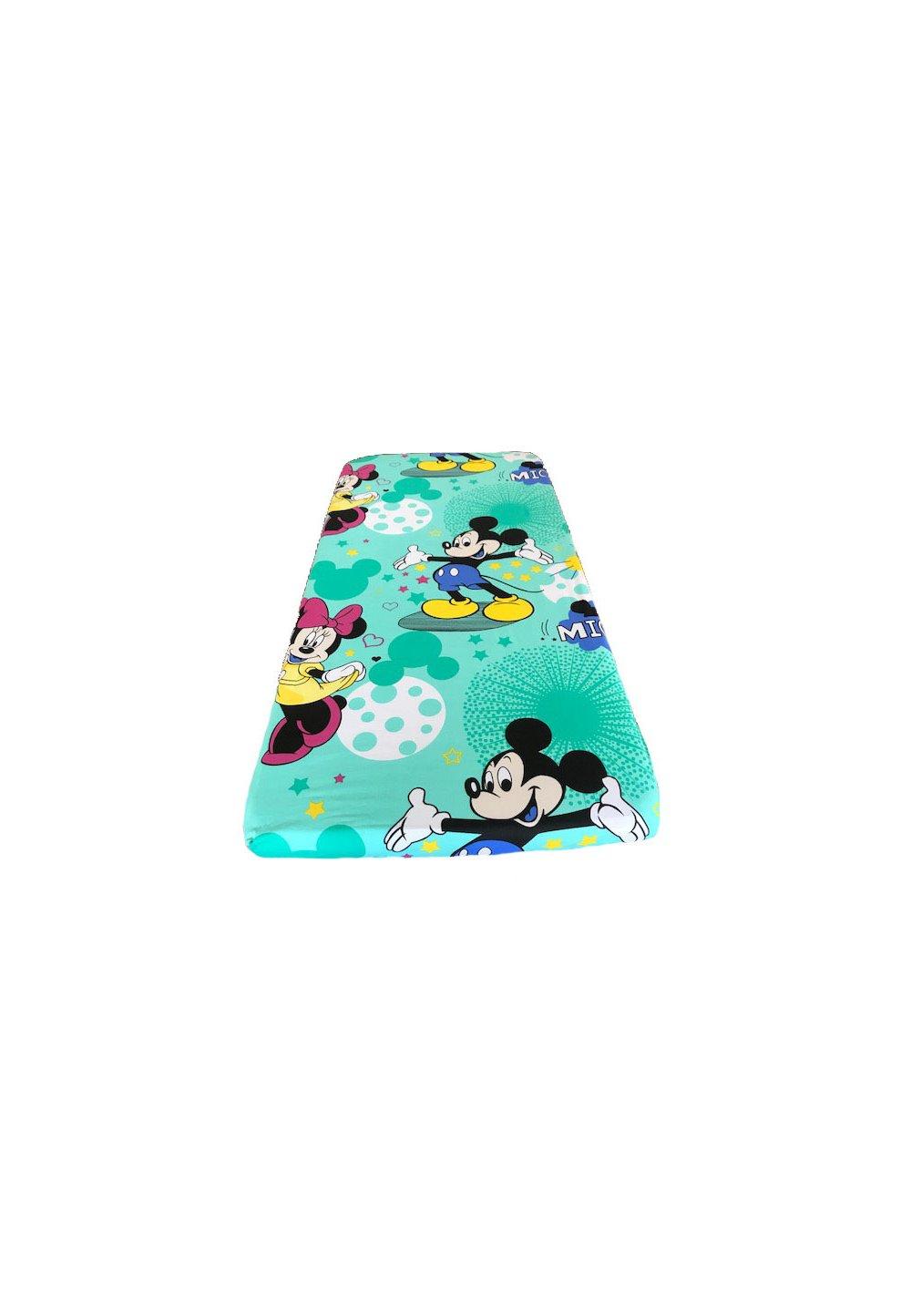 Cearceaf patut, turcoaz, Minnie si Mickey, 120x60cm imagine