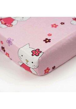 Cearceaf Prichindel, patut 120x60 cm, Kitty roz