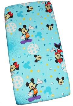 Cearceaf Prichindel, patut 120x60 cm, Minnie si Mickey, albastru cu stelute