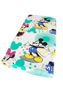 Cearceaf Prichindel, patut 120x60 cm, Minnie si Mickey, crem