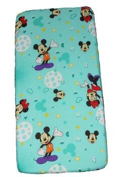 Cearceaf Prichindel, patut 120x60 cm, Minnie si Mickey, turcoaz cu stelute
