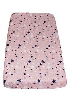 Cearceaf Prichindel, patut 120x60 cm, stelutele roz