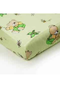 Cearceaf Prichindel, patut 120x60 cm, ursuletul si albinutele, verde