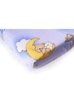 Cearceaf Prichindel, patut 120x60 cm, ursuletul somnoros albastru