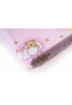 Cearceaf Prichindel, patut 120x60 cm, ursuletul somnoros, roz