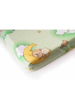 Cearceaf Prichindel, patut 120x60 cm, ursuletul somnoros, verde