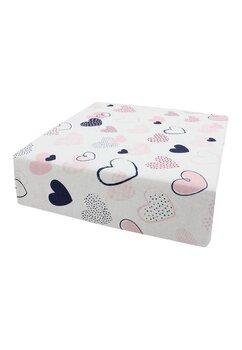 Cearceaf Prichindel, patut, alb cu inimioare roz 120x60 cm