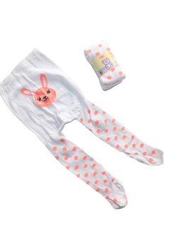 Ciorapi cu chilot bebe, albi cu buline