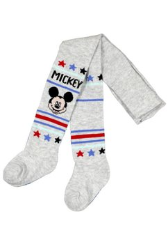 Ciorapi cu chilot, bebe Mickey Mouse, gri cu dungi