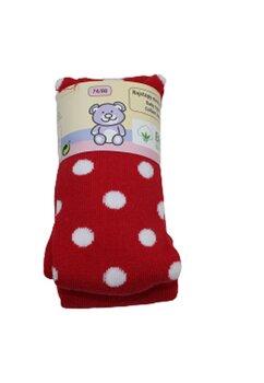 Ciorapi cu chilot bebe, rosii cu buline albe