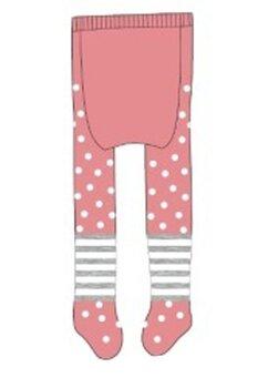 Ciorapi cu chilot bebe, roz cu dungi gri