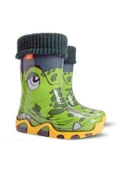 Cizme de cauciuc, cu ciorap, crocodil verde