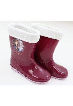 Cizme de cauciuc cu ciorap, din PVC, fara inchidere, Frozen, visiniu