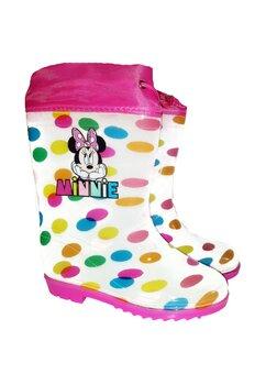 Cizme de cauciuc, Minnie Mouse, albe cu buline
