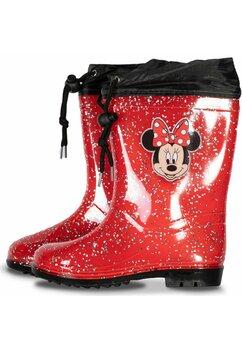 Cizme de cauciuc, Minnie Mouse, rosii cu sclipici