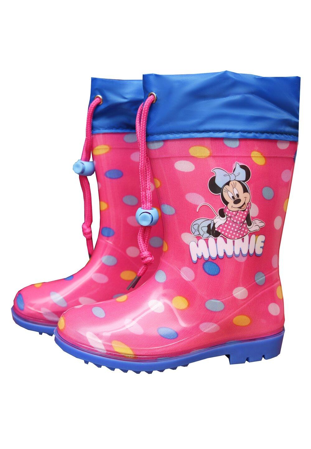 Cizme de cauciuc, Minnie, roz cu buline colorate imagine