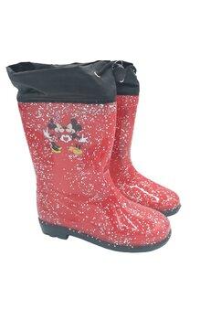 Cizme de cauciuc, Minnie si Mickey, rosii cu sclipici