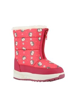 Cizme de zapada, imblanite, roz cu pinguin