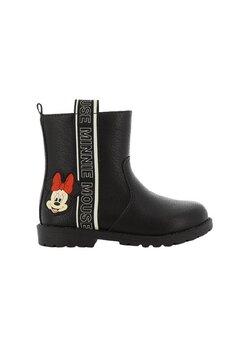 Cizme fete din piele ecologica, cu fermoar, Minnie Mouse, negre