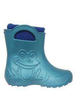 Cizme termoizolante din spuma cu ciorap, Frog, albastru metalic