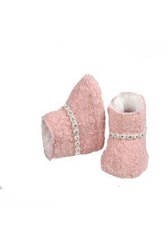Cizmulite bebe, roz cu pietricele