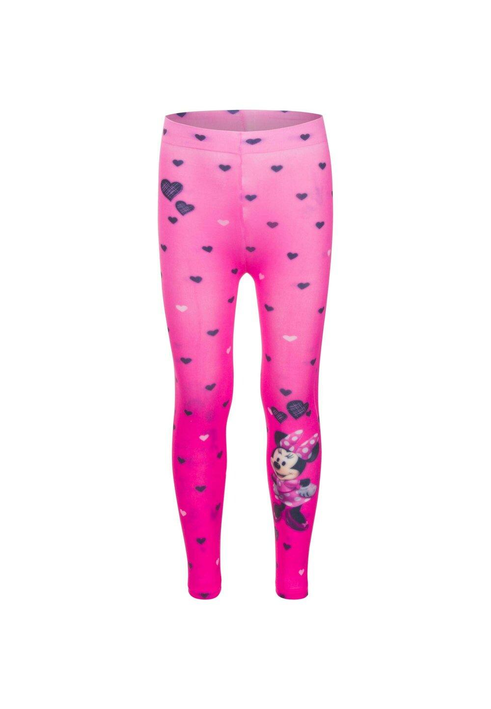 Colanti, Minnie Mouse, roz cu inimioare negre si albe imagine