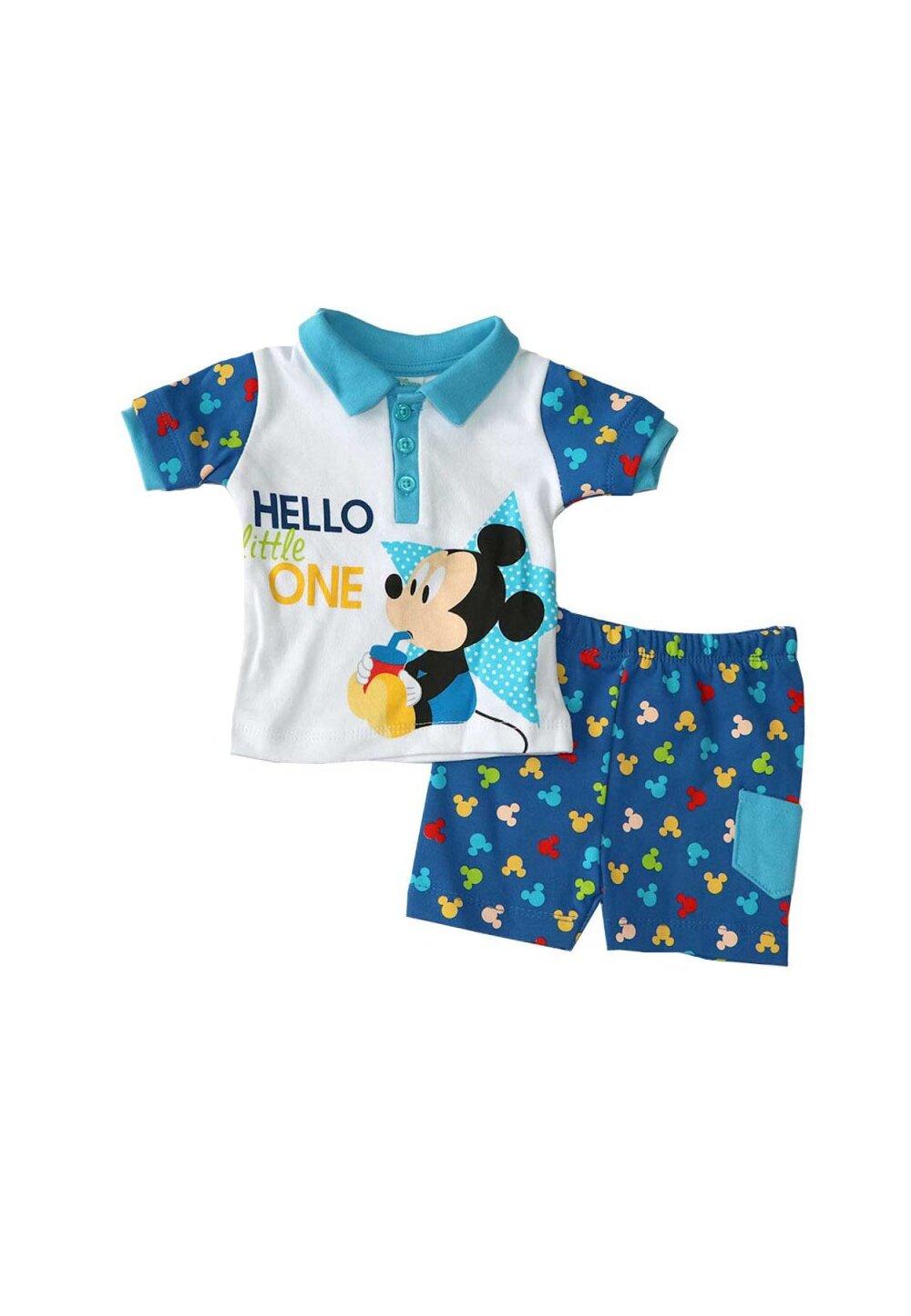 Compleu bebe, 2 piese, Mickey, albastru imagine