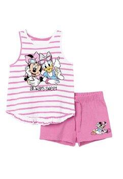 Compleu fete, maneca scurta, Minnie and Daisy, roz