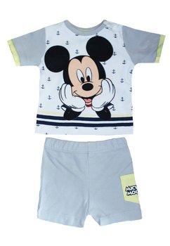 Compleu, maneca scurta, bebe Mickey, gri cu ancore
