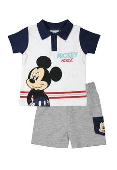 Compleu maneca scurta, Mickey, alb cu bluemarin